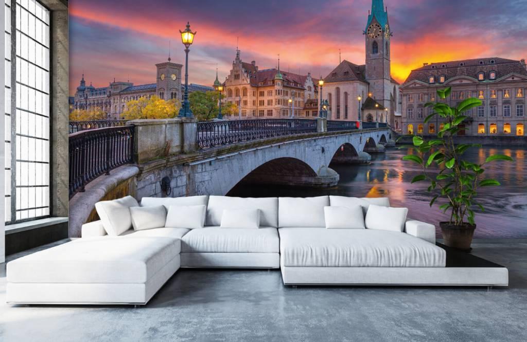 Städer tapet Zürich på kvällen 1