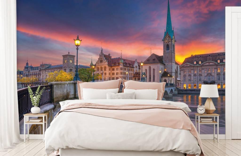 Städer tapet Zürich på kvällen 2