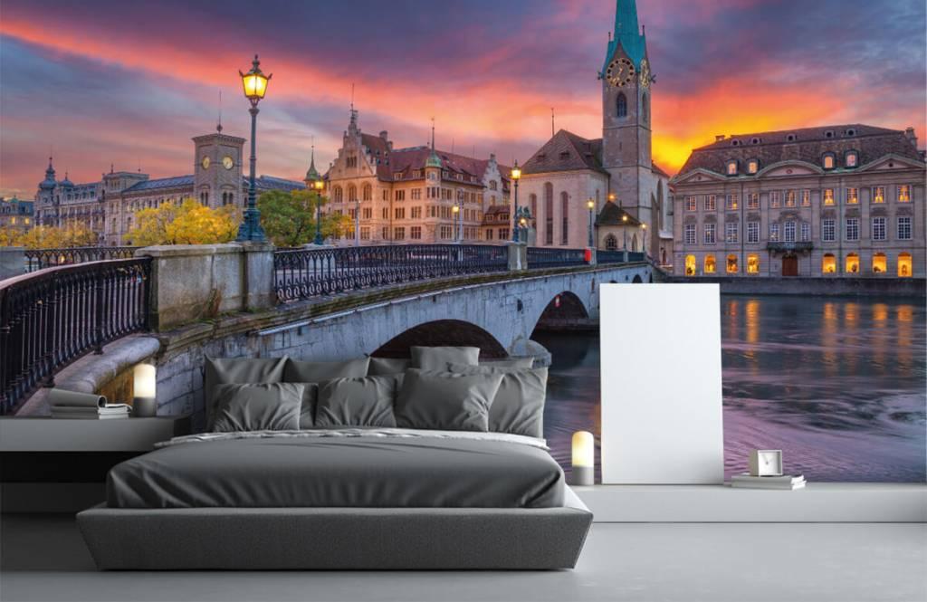 Städer tapet Zürich på kvällen 3