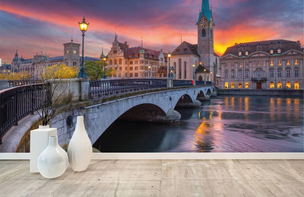 Städer tapet Zürich på kvällen 8
