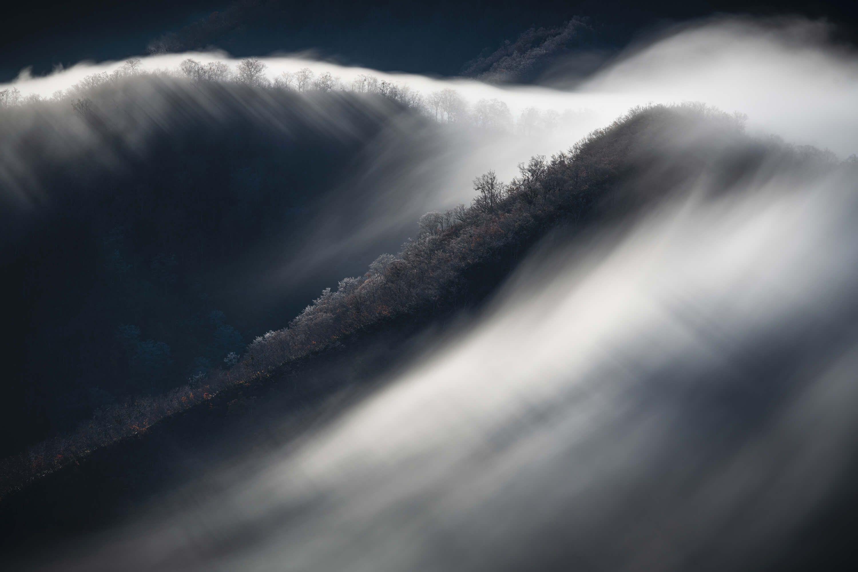 Waterfall clouds and hoarfrost
