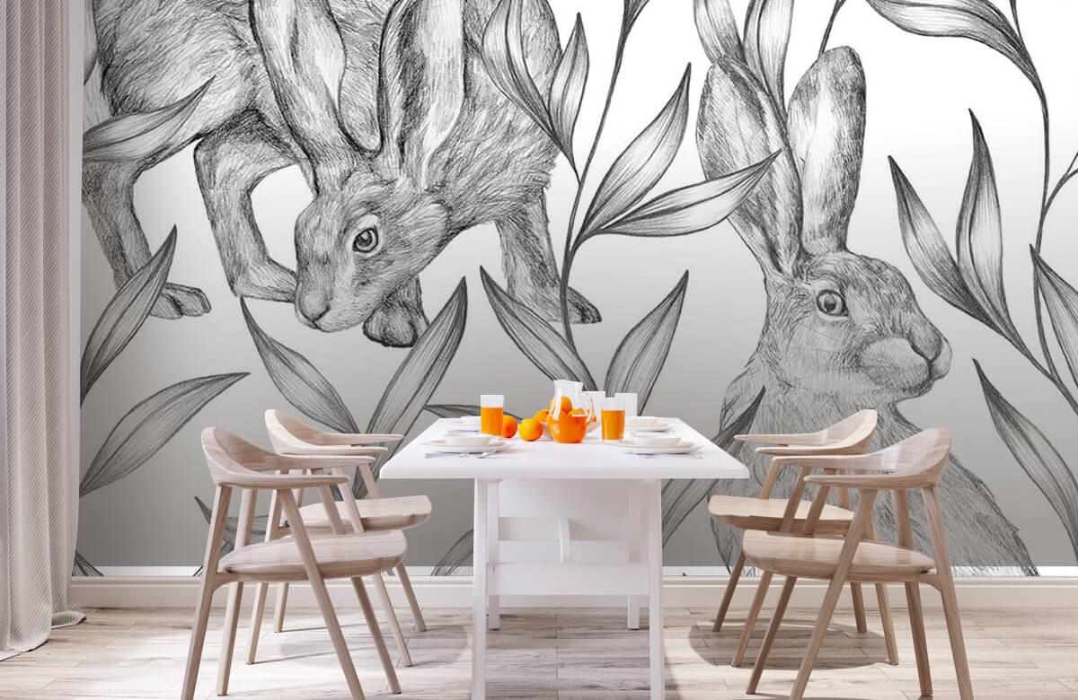 Pattern Hare i svartvitt 3