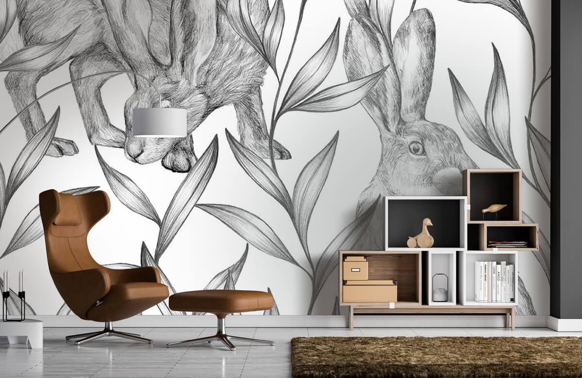 Pattern Hare i svartvitt 9