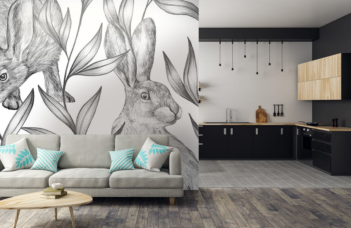 Pattern Hare i svartvitt 10