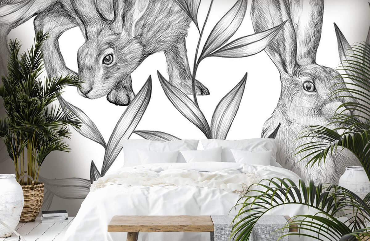 Pattern Hare i svartvitt 6