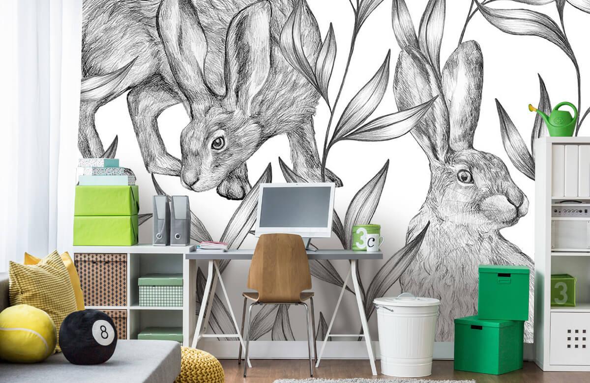 Pattern Hare i svartvitt 4