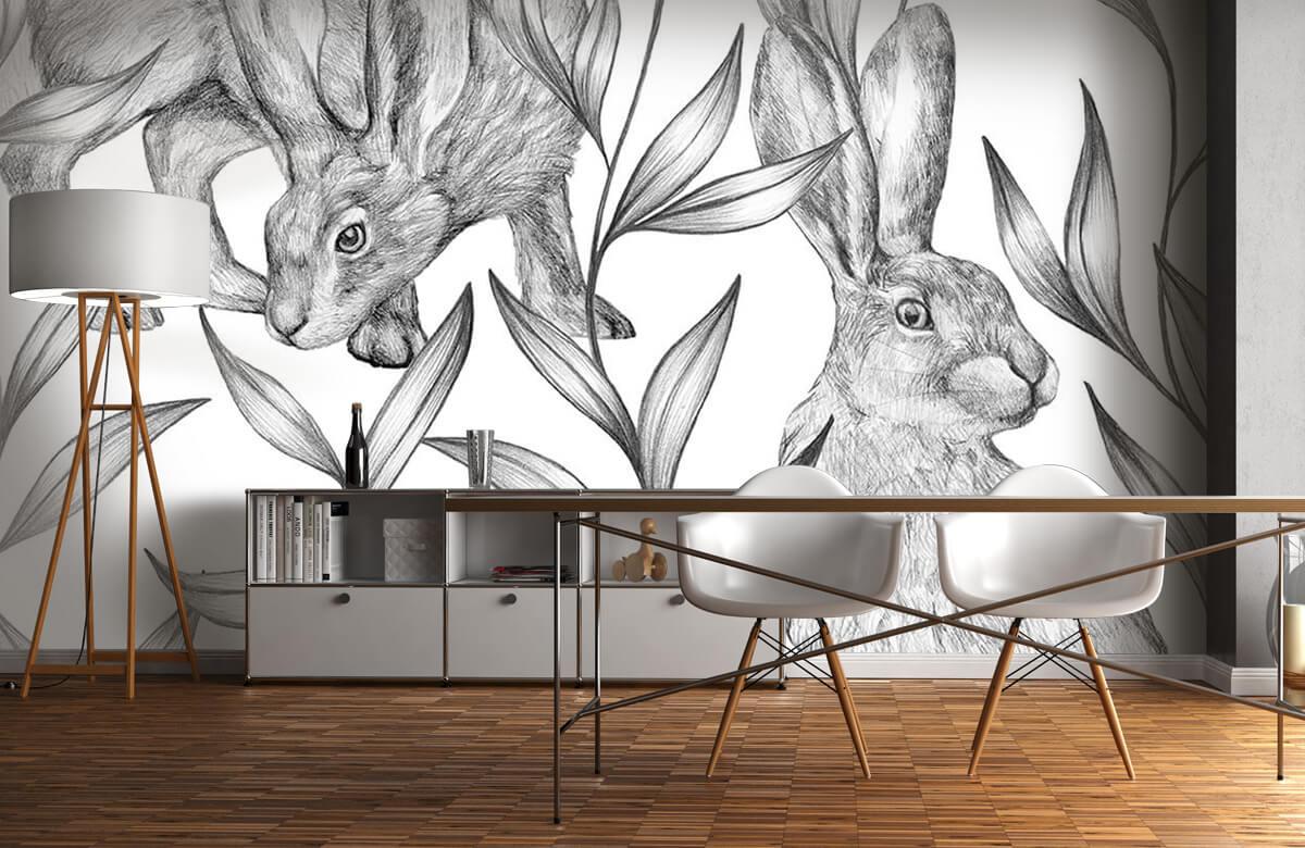 Pattern Hare i svartvitt 2