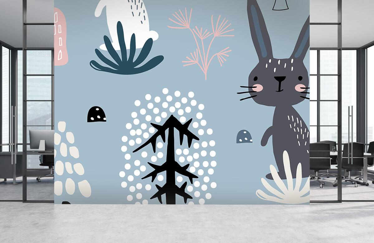 Pattern Blå kanin mönster 5
