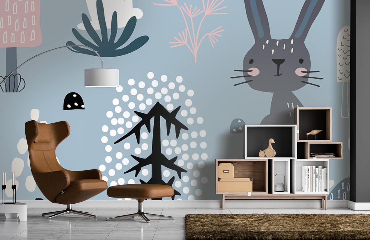 Pattern Blå kanin mönster 7