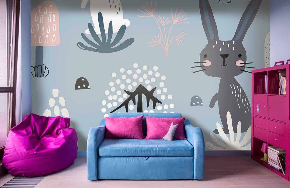 Pattern Blå kanin mönster 4