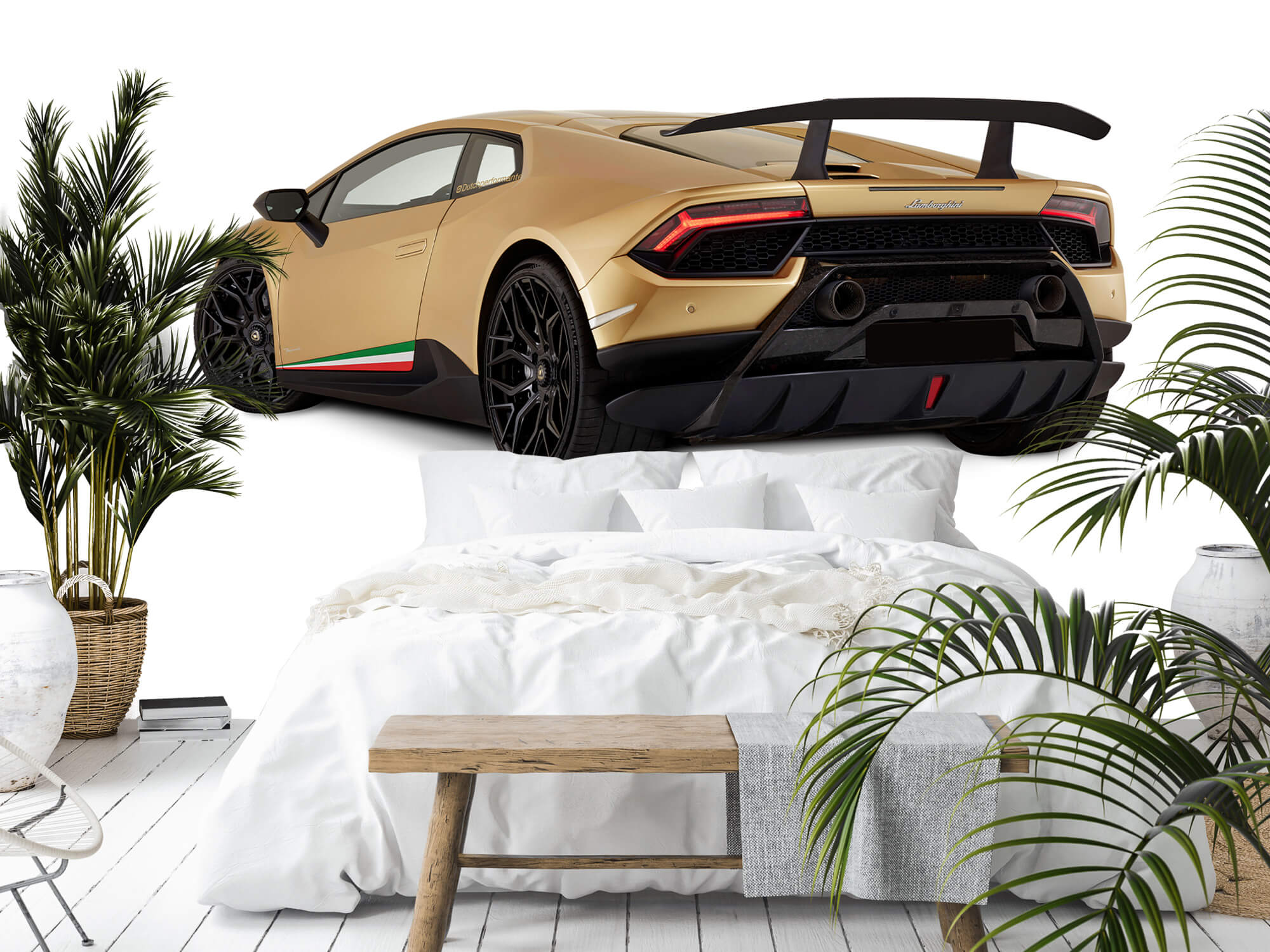 Wallpaper Lamborghini Huracán - Vänster bak, vit 2