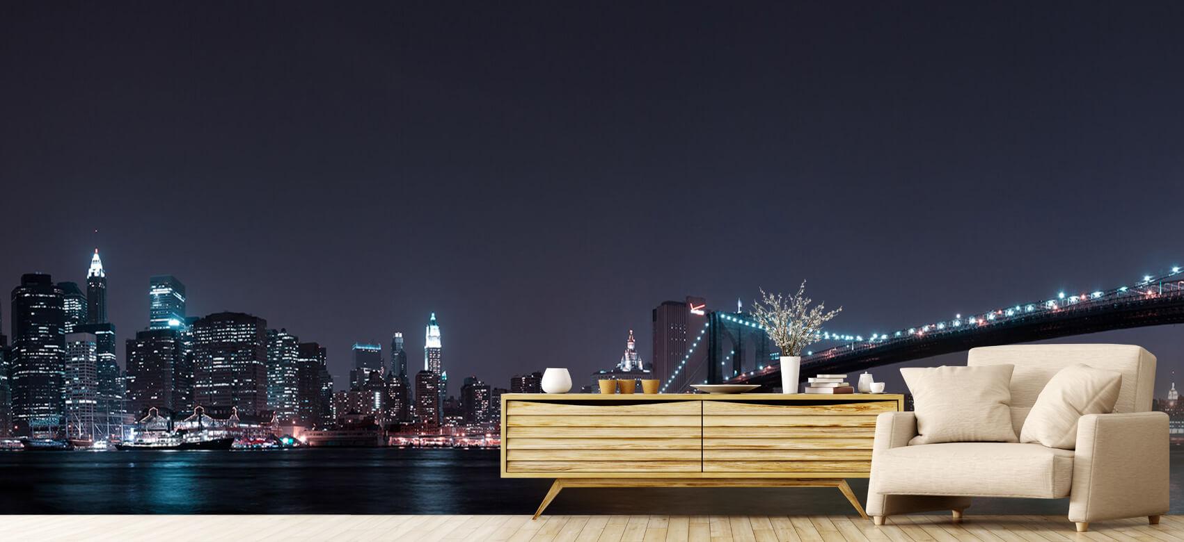 Nacht Manhattan Skyline and Brooklyn Bridge 6