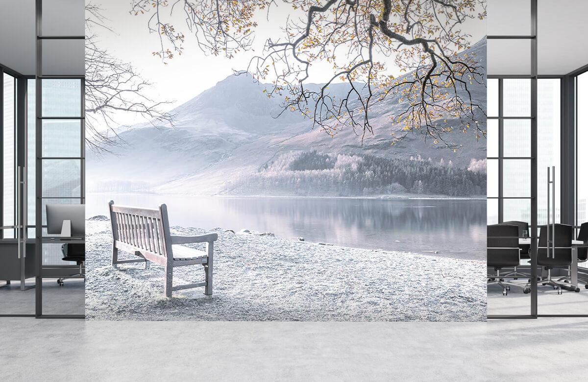 Bänk vid en lugn sjö 4