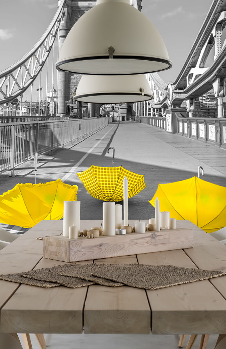 Gula paraplyer på Tower Bridge 8