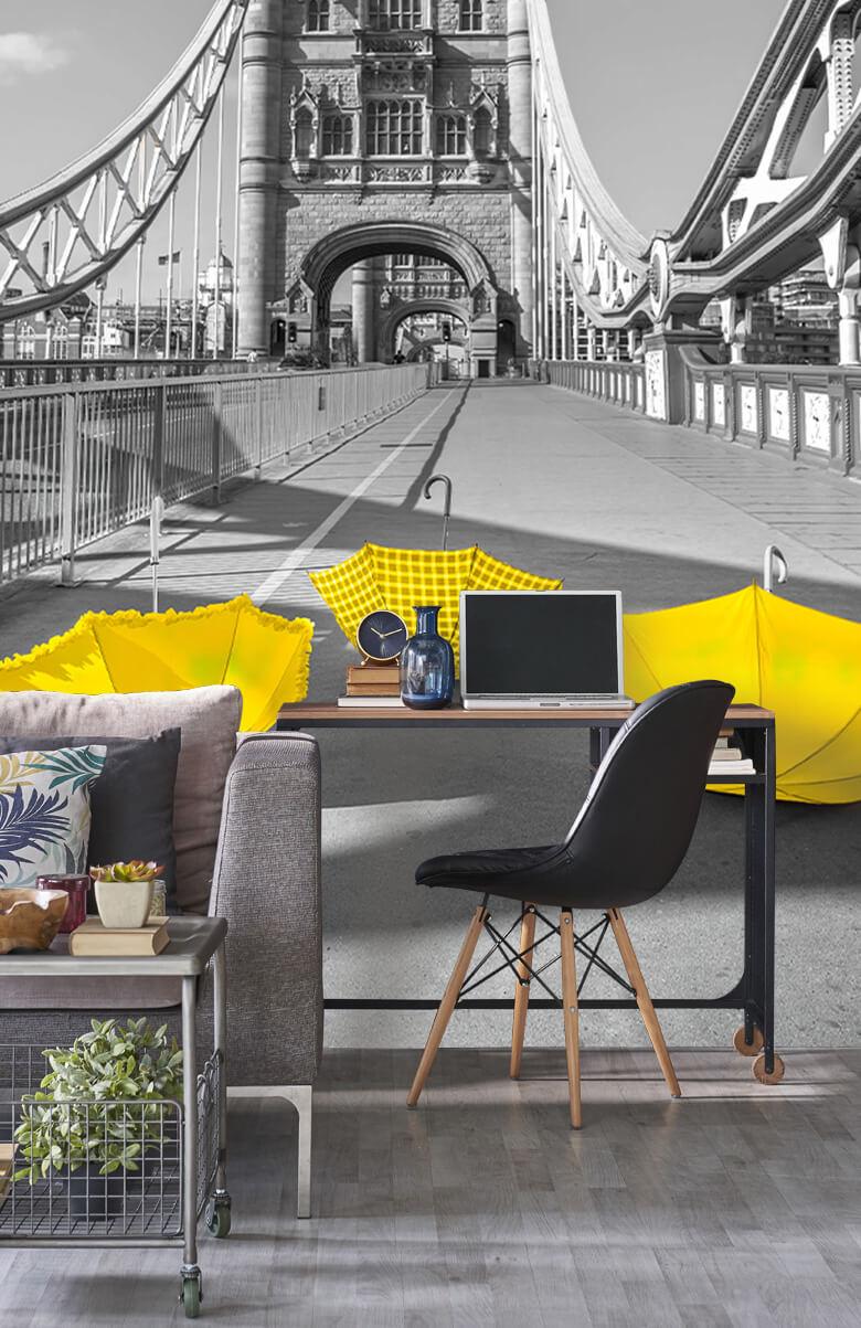 Gula paraplyer på Tower Bridge 11