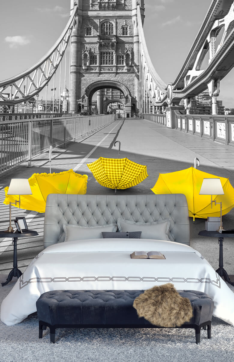 Gula paraplyer på Tower Bridge 6