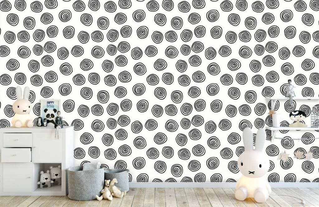 Abstrakt tapet Abstrakta cirklar i svartvitt 1