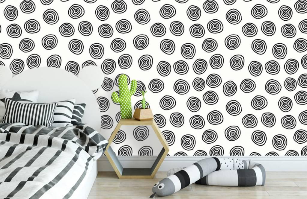 Abstrakt tapet Abstrakta cirklar i svartvitt 3