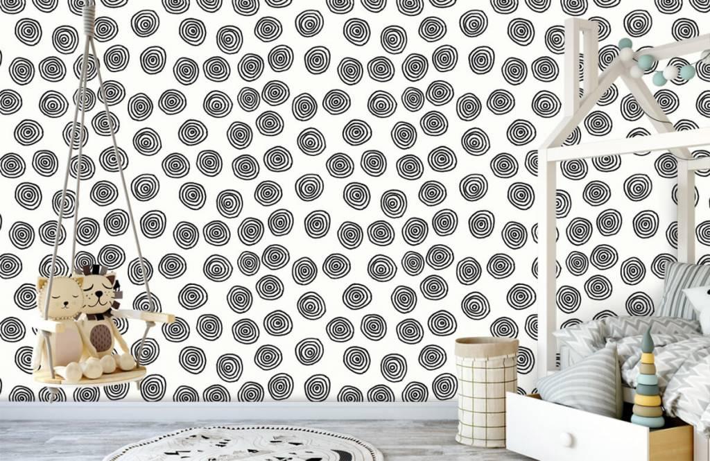 Abstrakt tapet Abstrakta cirklar i svartvitt 4