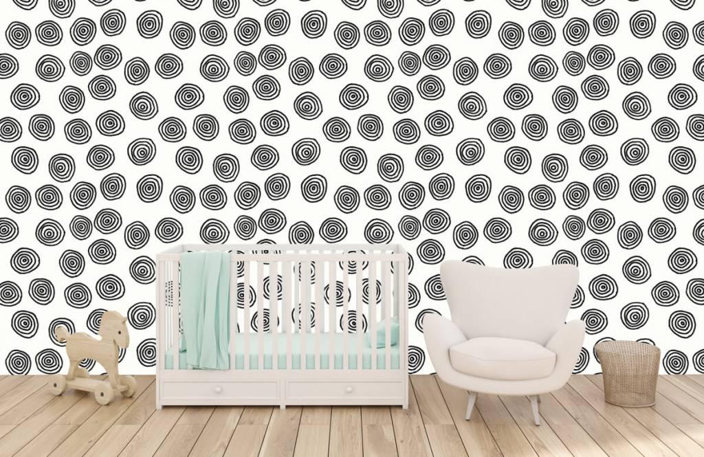 Abstrakt tapet Abstrakta cirklar i svartvitt 5