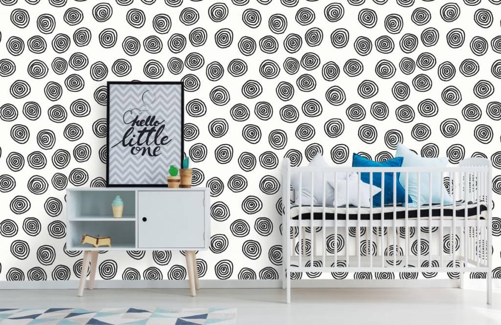 Abstrakt tapet Abstrakta cirklar i svartvitt 6