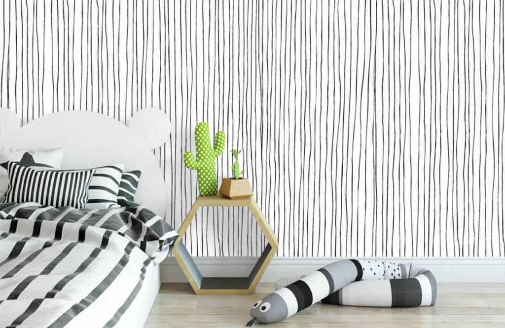 Abstrakt tapet Abstrakta linjer i svartvitt 2